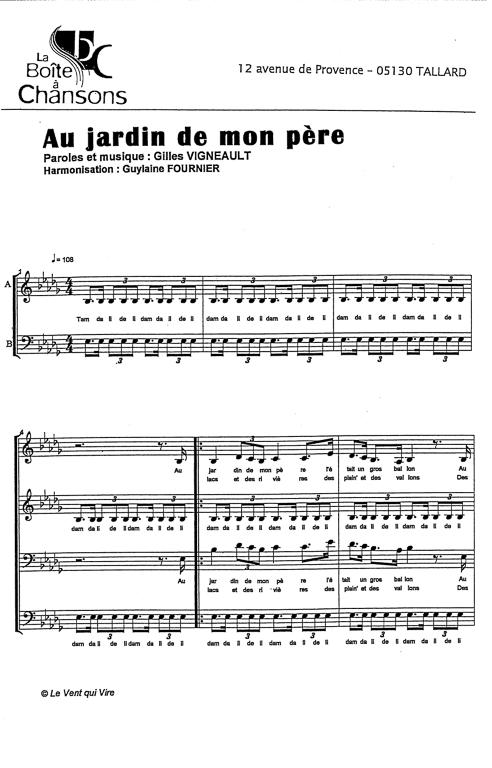 Partition de musique diteur de partitions pour chorale for Au jardin de mon pere camping