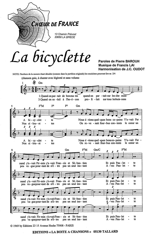 partition chanson a bicyclette