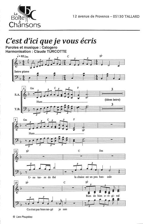 Partition piano ecris l histoire