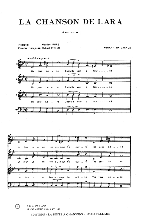 partition chanson de lara