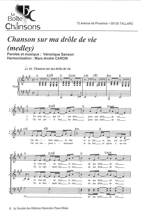 partition chanson sur une drole de vie piano