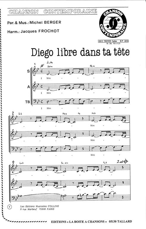partition piano diego libre dans sa tete gratuit