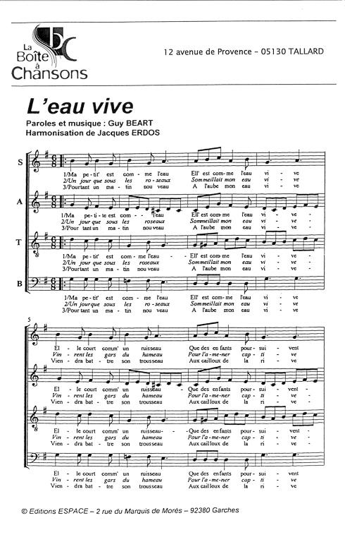 Chanson De Leau Vive Congodiriml