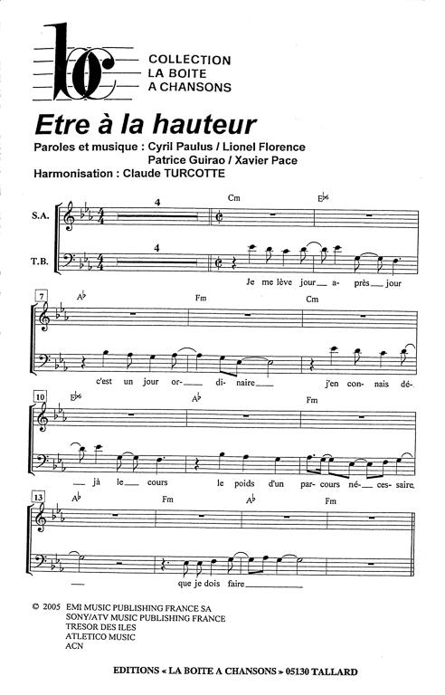 Partition piano etre a la hauteur