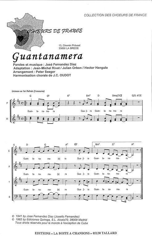 partition guantanamera flute
