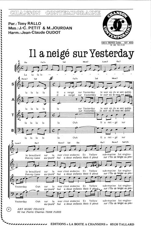 partition de la chanson yesterday