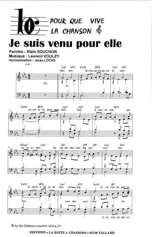 Partition de musique diteur de partitions pour chorale - Je suis malade chanson ...