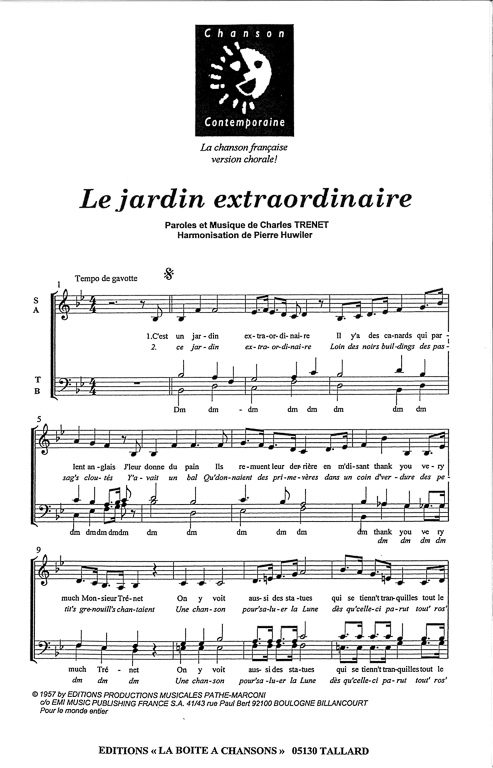 Partition de musique diteur de partitions pour chorale for Jardin extraordinaire