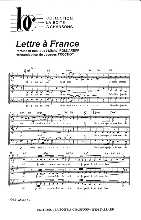 lettre a france Partition de musique, éditeur de partitions pour chorale lettre a france