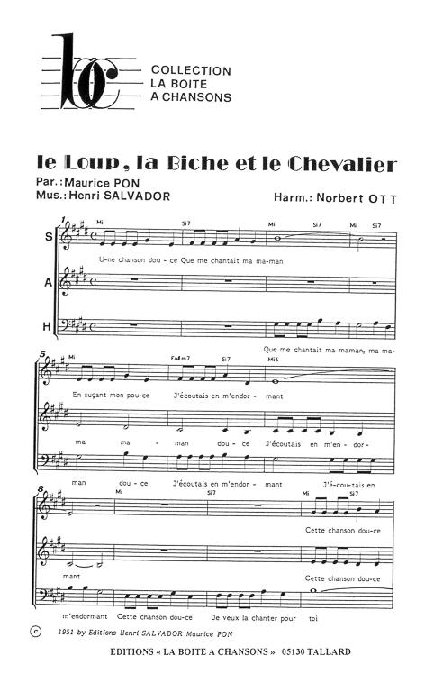 Partition de musique diteur de partitions pour chorale - Laisserons nous a notre table paroles ...