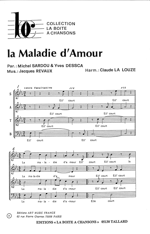 partition piano maladie d amour