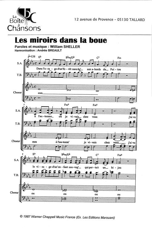 Partition de musique diteur de partitions pour chorale for Miroir dans la boue