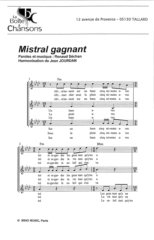 partition chant mistral gagnant