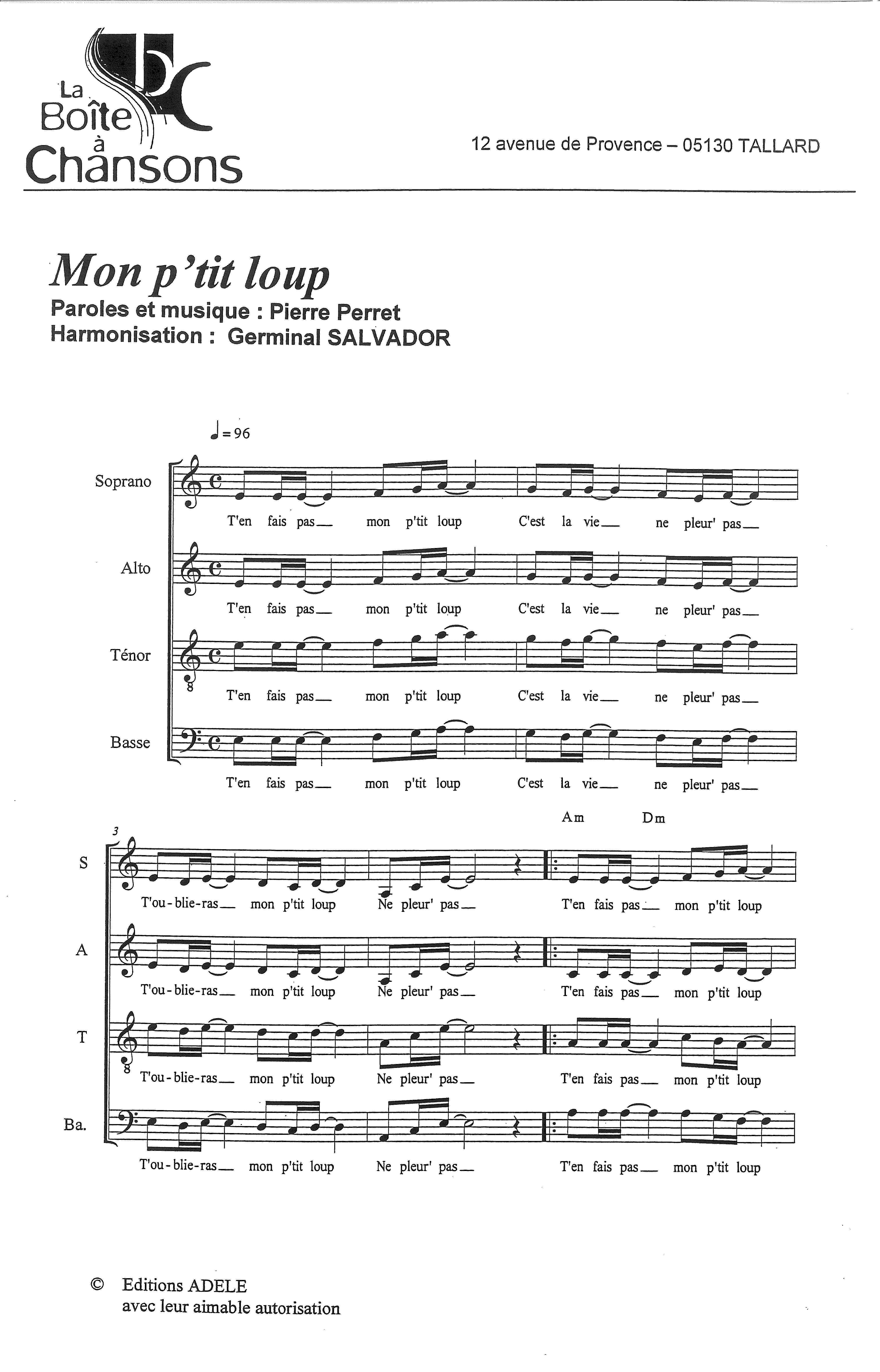 Partition de musique diteur de partitions pour chorale - Donnez nous des jardins pierre perret ...