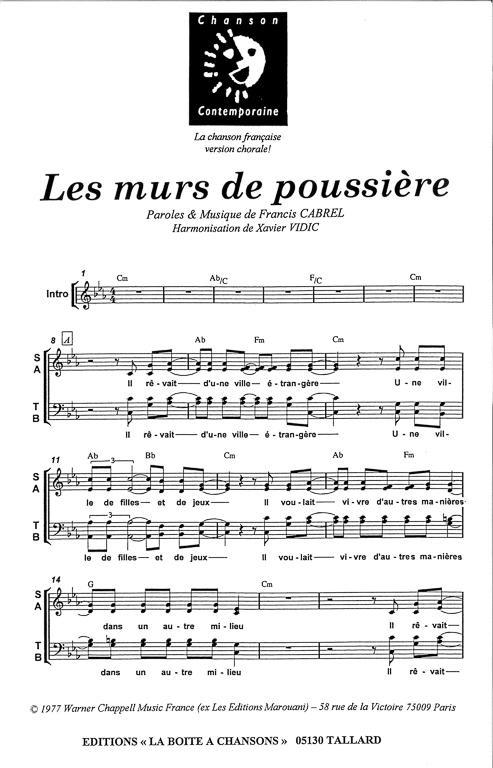 Partition de musique diteur de partitions pour chorale - Partition les murs porteurs ...