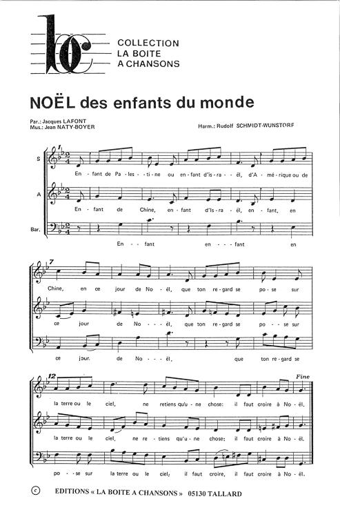 Partition de musique diteur de partitions pour chorale - Noel enfant du monde ...