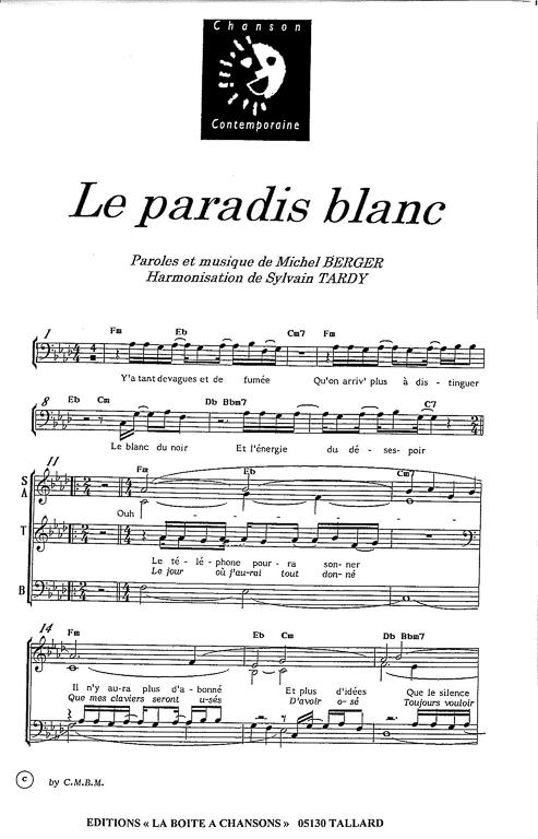 photo partition piano du paradis blanc