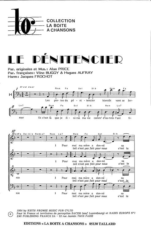 Partition de musique diteur de partitions pour chorale - Les portes du penitencier original ...