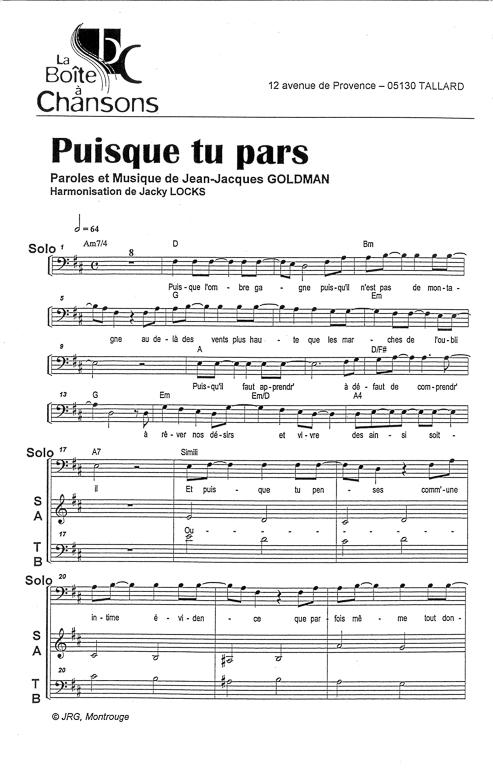 partition piano puisque tu pars