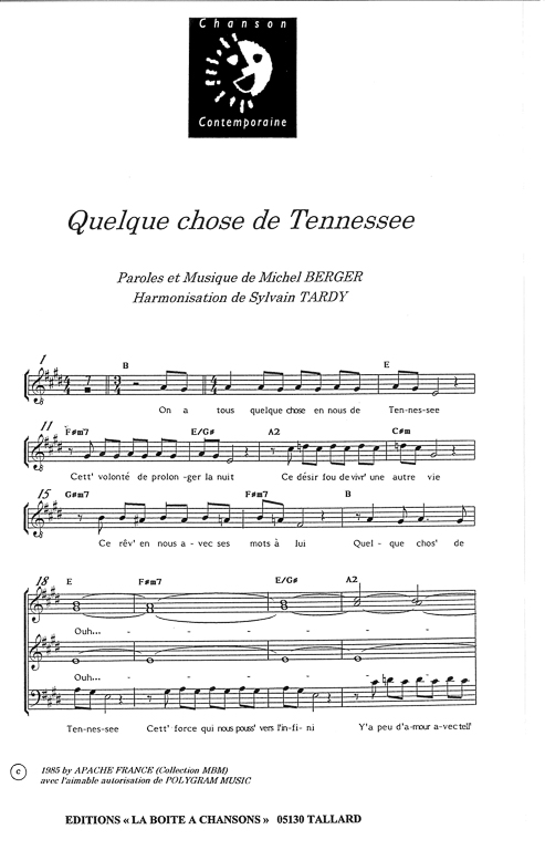 partition piano quelque chose de tennessee