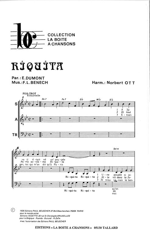 partition musique riquita