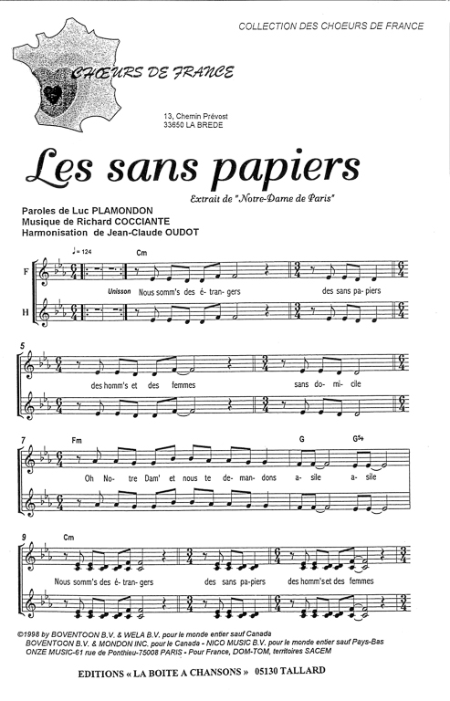 paroles les sans papiers notre dame de paris