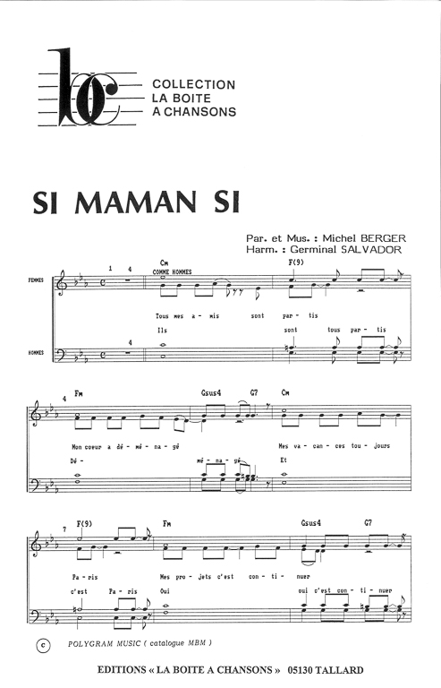 partition piano si maman si
