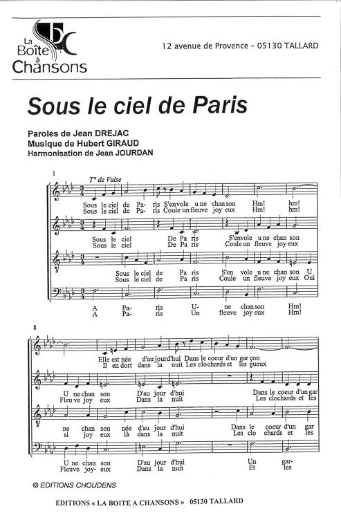 partition de musique sous le ciel de paris