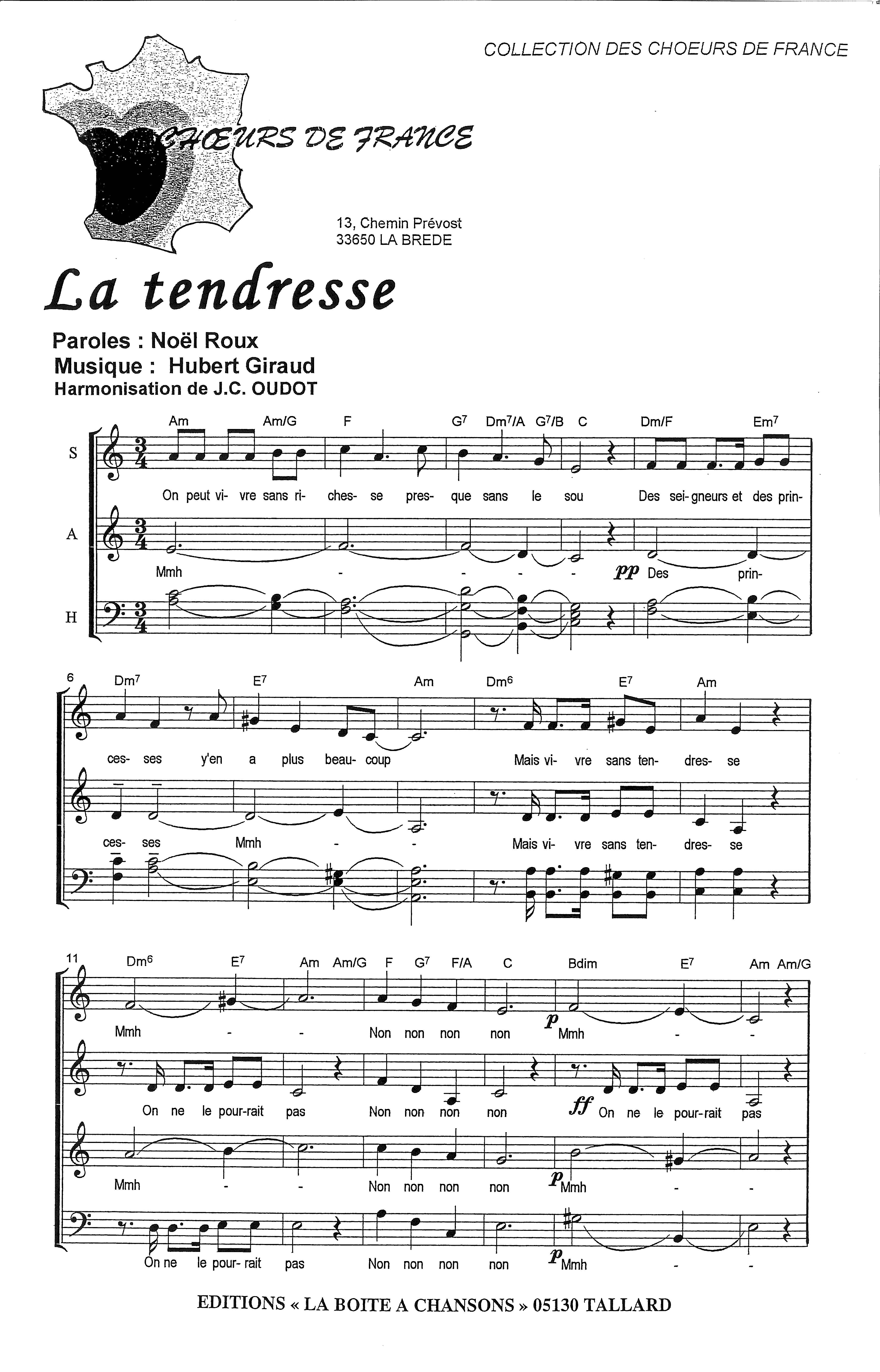 chanson la tendresse bourvil